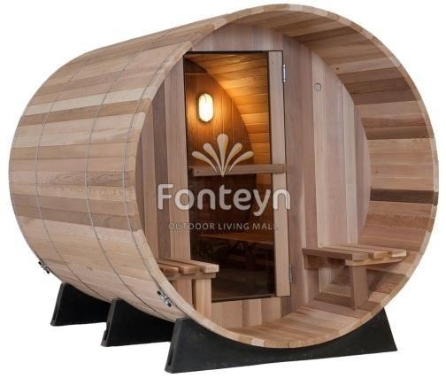 sauna als saunafass f r aussen 1 85x 2 45. Black Bedroom Furniture Sets. Home Design Ideas