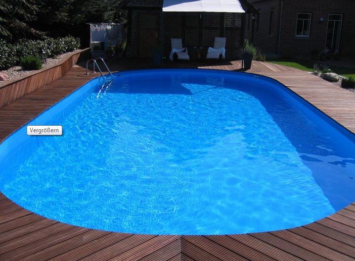 Einbauset Ovalbecken Swim 700x350x150cm Ih0,8mm blau mit Leiter
