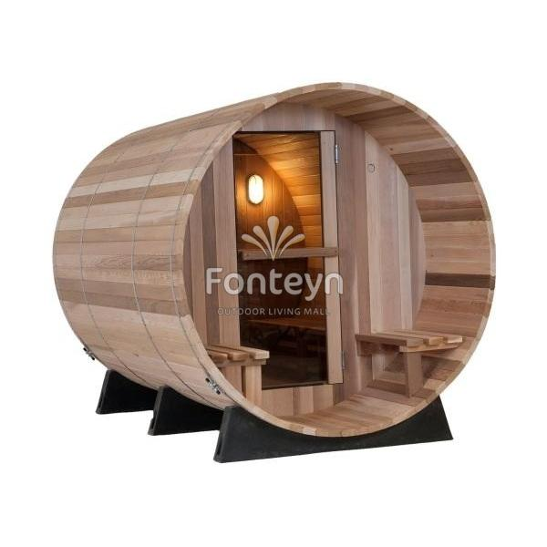 sauna als saunafass f r aussen 1 85x 2 45. Black Bedroom Furniture Sets. Home Design Ideas